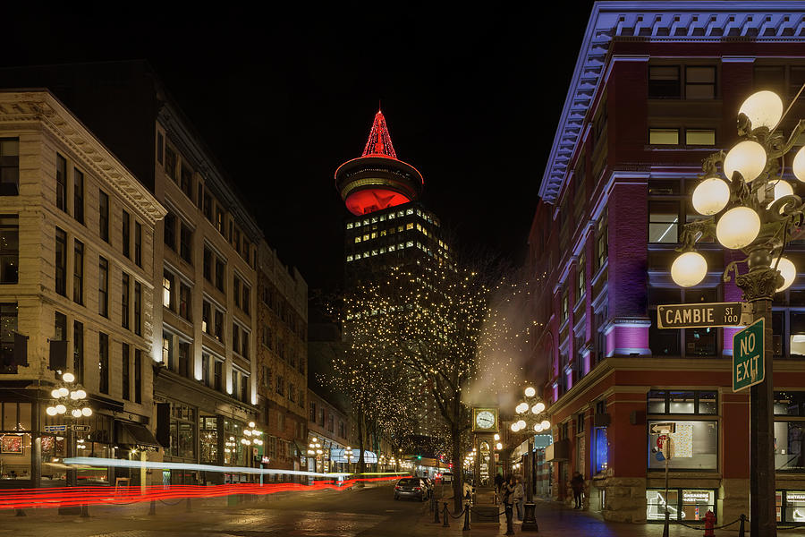 Vancouver Photograph - Gastown In Vancouver Bc At Night by David Gn