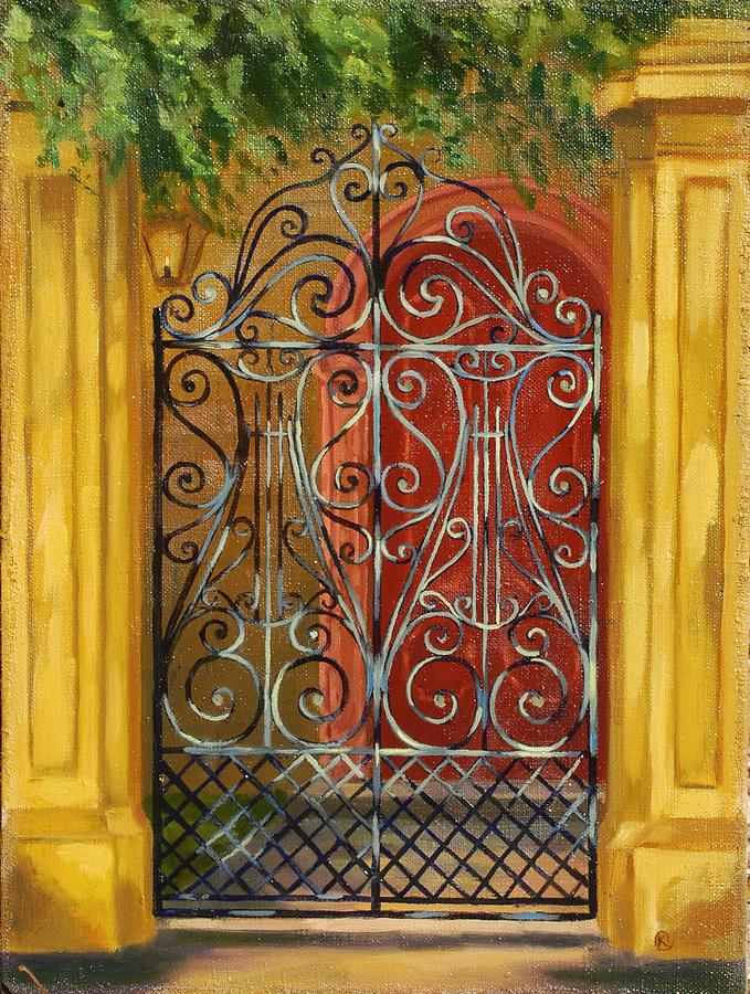 Charleston Painting - Gate In Charleston by Marina Bare