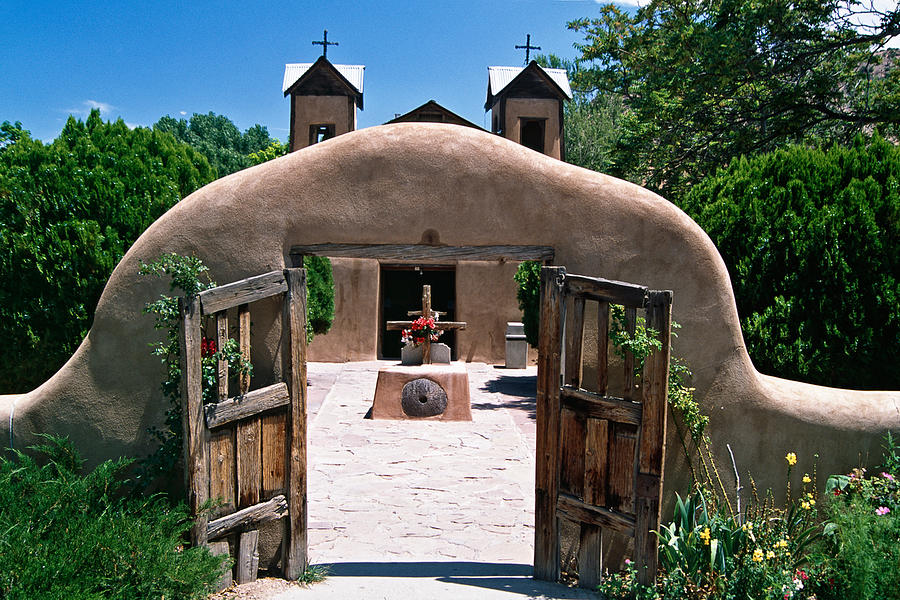 Adobe Photograph - Gate Of An Adobe Church by George Oze