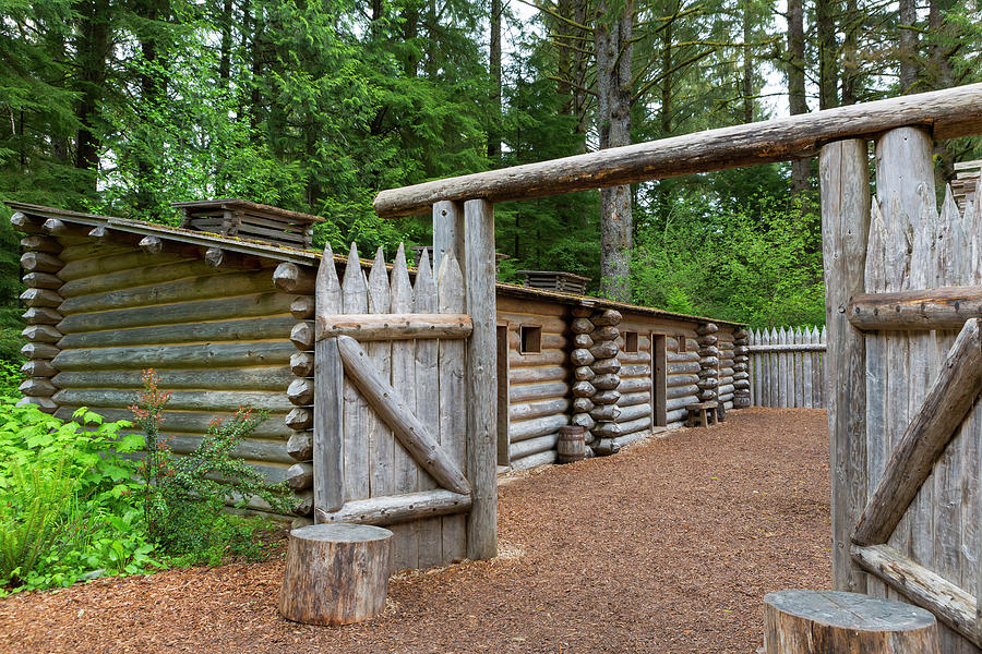Fort Photograph - Gate to Log Camp at Fort Clatsop by David Gn