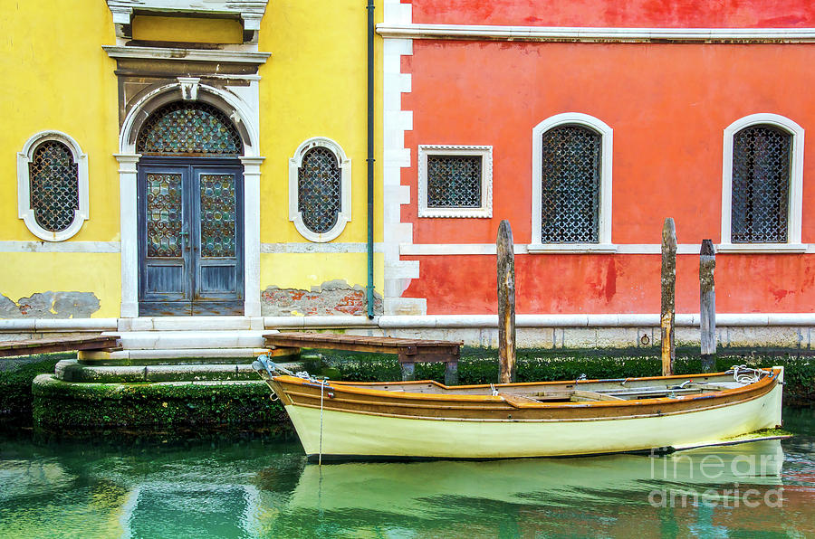Architecture Photograph - Gate Venice Colorful Buildings Moored Boat Canal Italy Venetian  by Luca Lorenzelli
