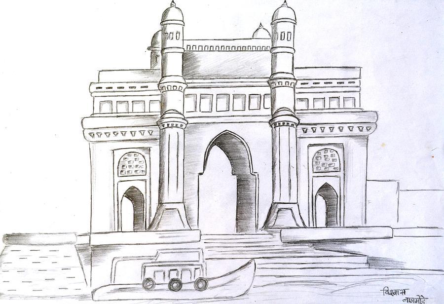 Gate Way Of India Drawing By Vishwas Nagmode