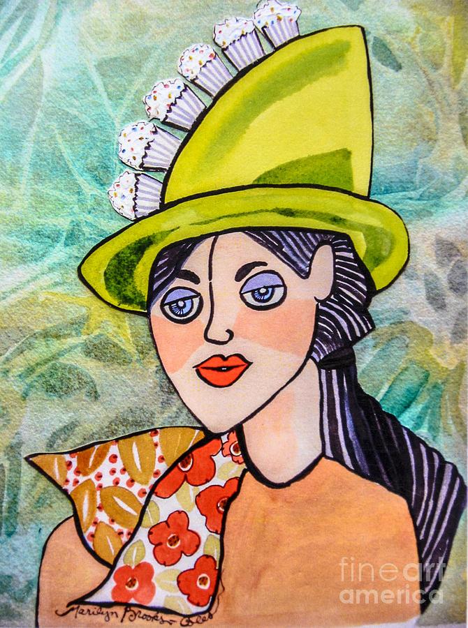 Cupcake Painting - Gateau Chapeau by Marilyn Brooks