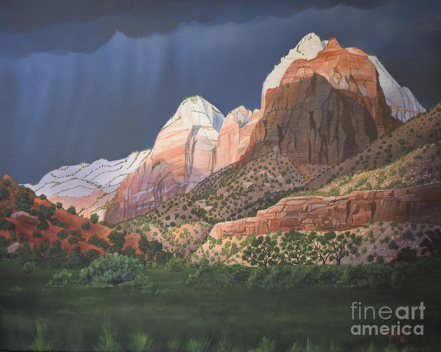 Zion National Park Painting - Gateway To Zion by Jerry Bokowski