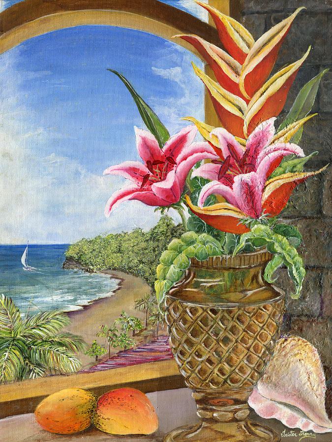 Caribbean Painting - Gathered Beauty by Trister Hosang