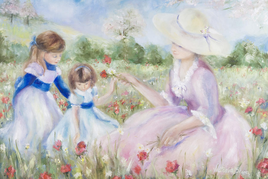 Mother And Child Painting - Gathering Flowers by Victoria  Shea