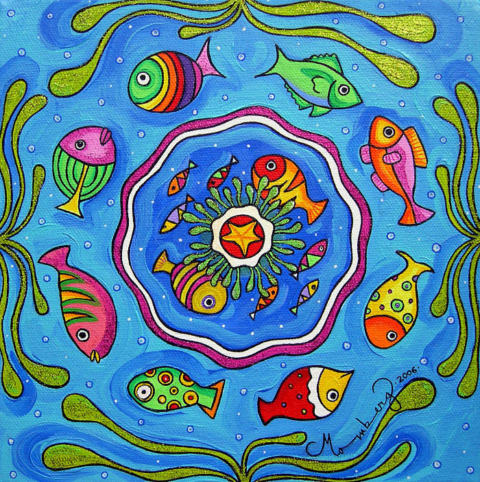 Fish Painting - gathering In The Big Blue by Karin Momberg