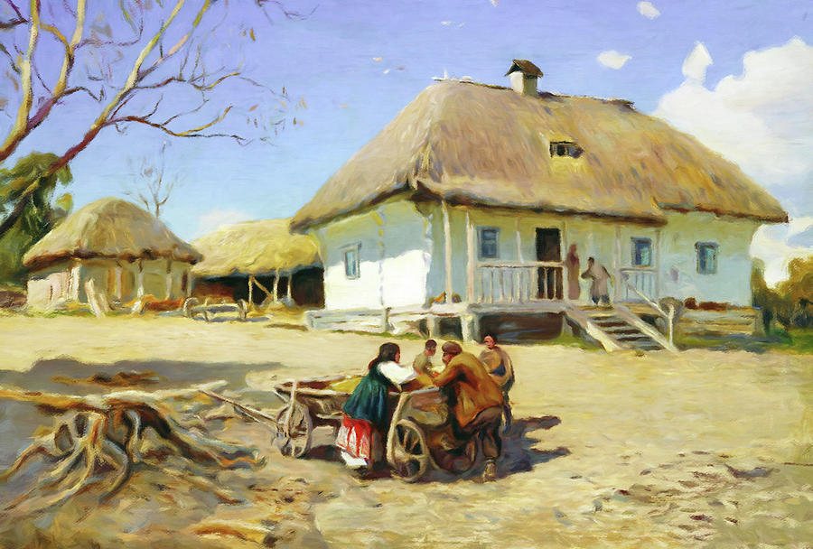 Thatched Roof Mixed Media - Gathering Near The Homestead by Georgiana Romanovna
