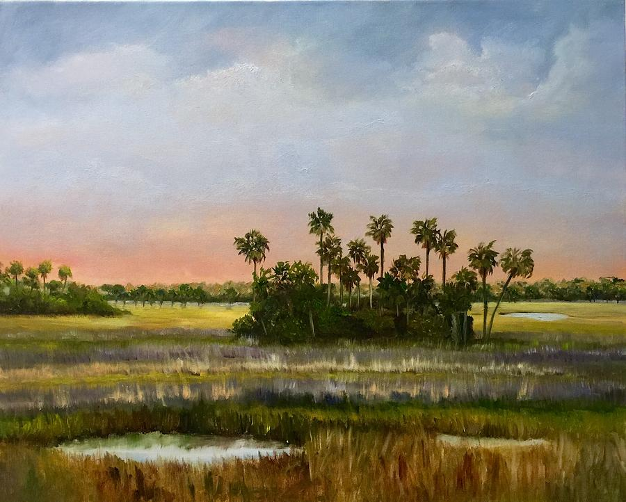 Palms Painting - Gathering Of The Palms by Karen Langley