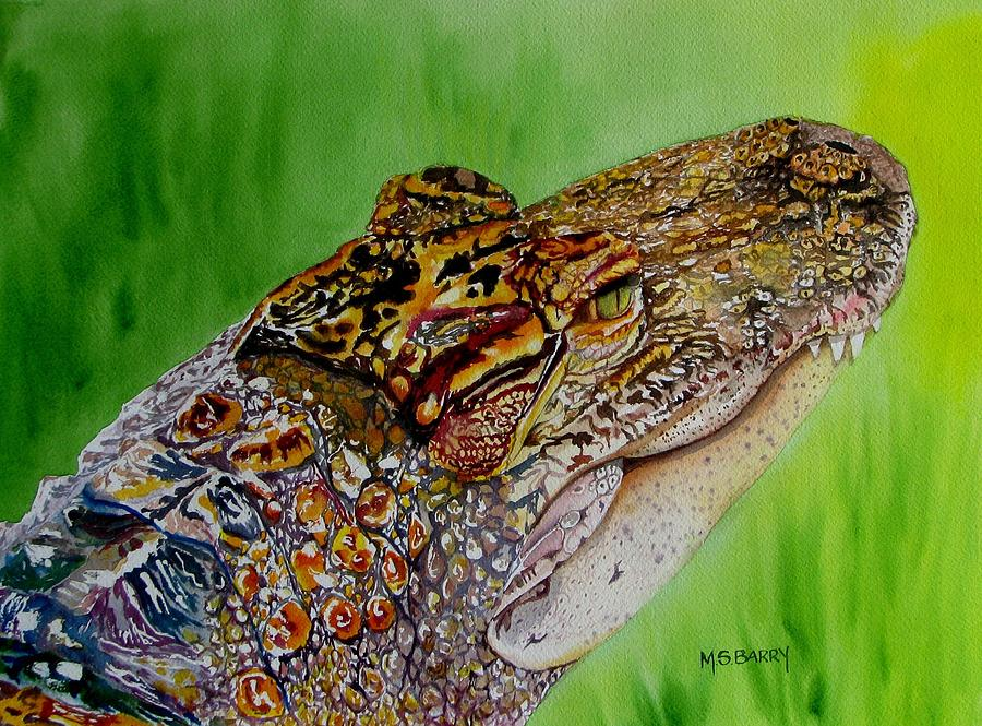 Alligator Painting - Gator Ali by Maria Barry