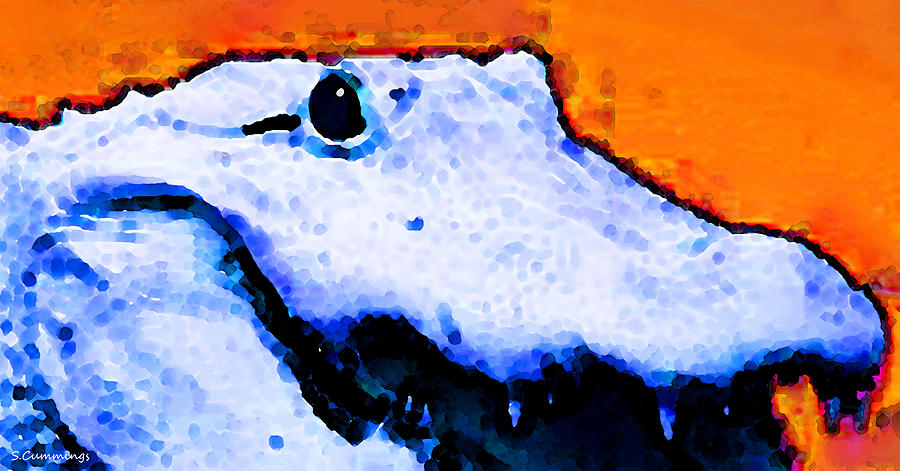 Gator Painting - Gator Art - Swampy by Sharon Cummings
