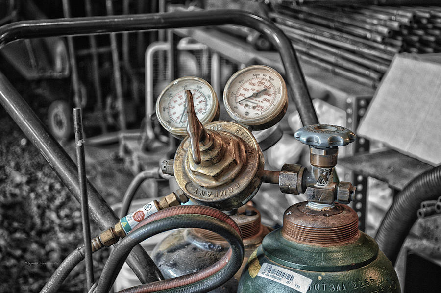 Gauges Mixed Media - Gauges And Tanks For Cutting Torches by Thomas Woolworth