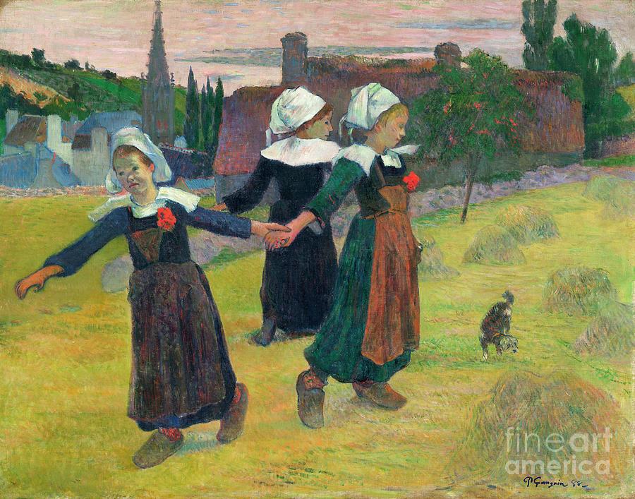 1888 Painting - Gauguin, Breton Girls, 1888 by Granger