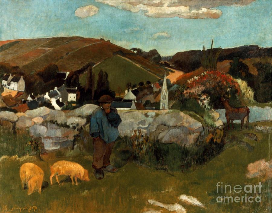 1888 Photograph - Gauguin: Swineherd, 1888 by Granger
