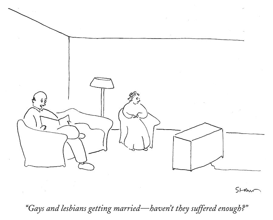 Gays and lesbians getting married Drawing by Michael Shaw