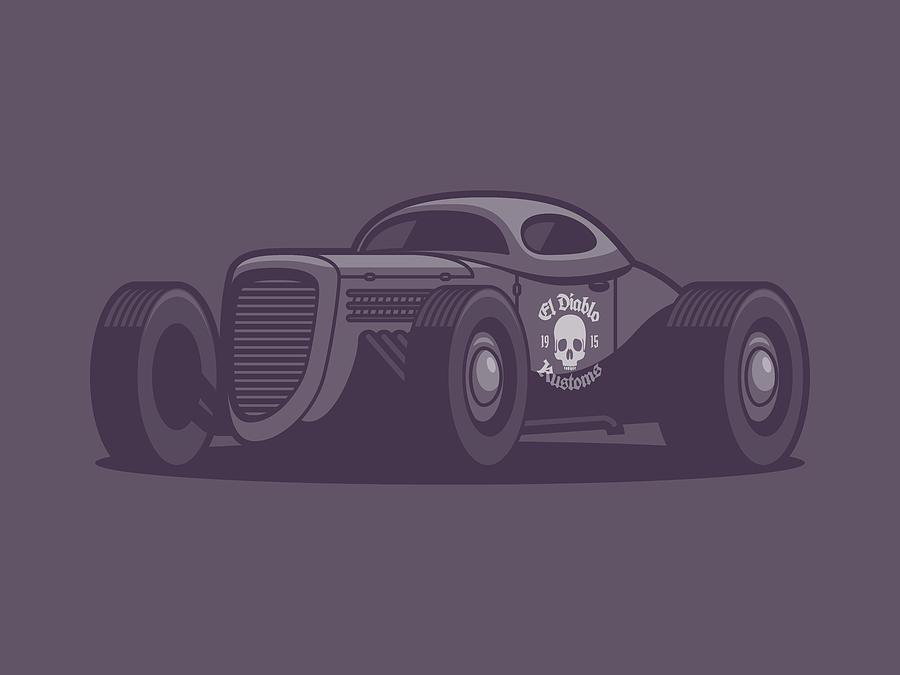 Hot Rod Digital Art - Gaz Gl1 Custom Vintage Hot Rod Classic Street Racer Car - Black by Ivan Krpan