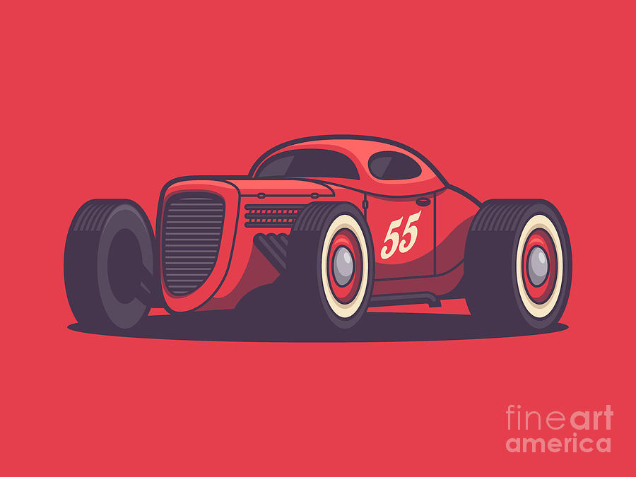 Hot Rod Digital Art - Gaz Gl1 Custom Vintage Hot Rod Classic Street Racer Car - Red by Ivan Krpan
