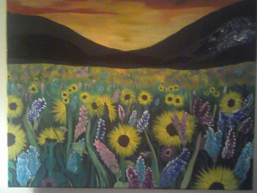 Sunset Painting - Gaze Into The Pasture by Cheryl Booth