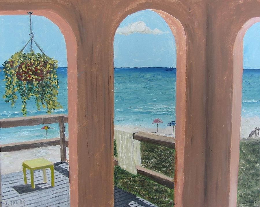 Seascape Painting - Gazebo At Blue Mountain Beach by John Terry