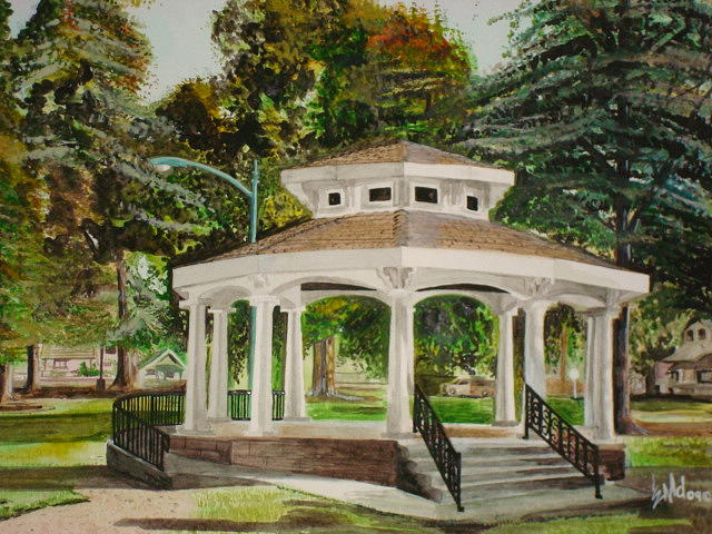 Landscape Painting - Gazebo before 12 by Jorge Luis  Iniguez