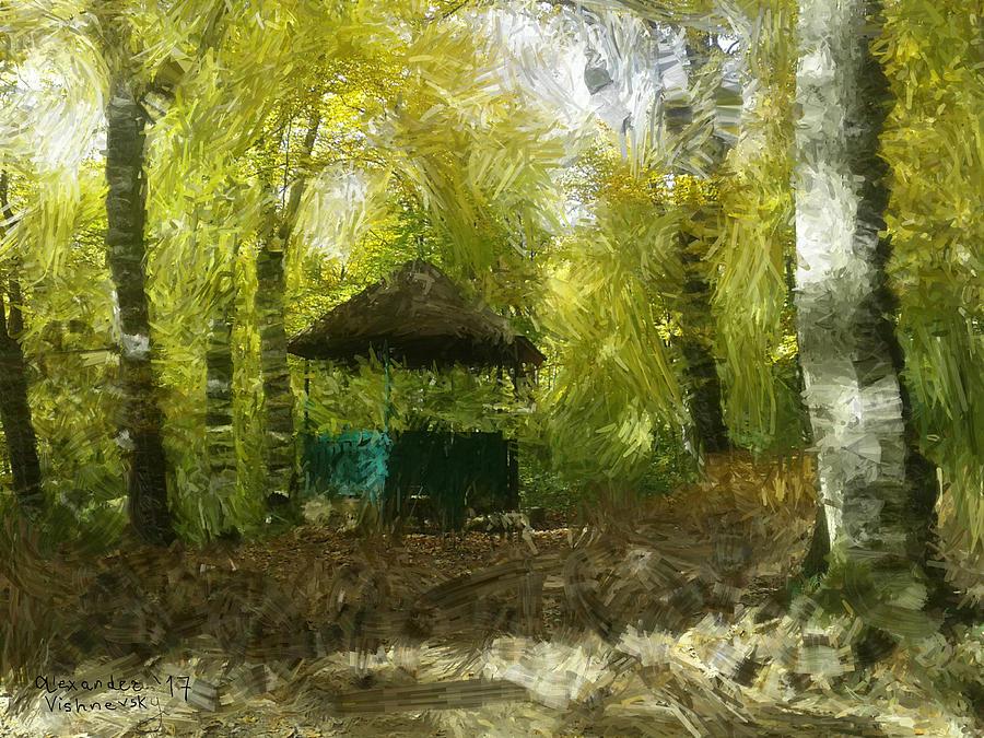 Landscape Painting - Gazebo In A Park by Alexander Vishnevsky