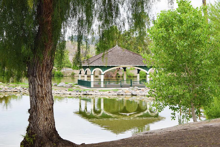 Gazebo Reflection At Lindo Lake In Lakeside California Photograph