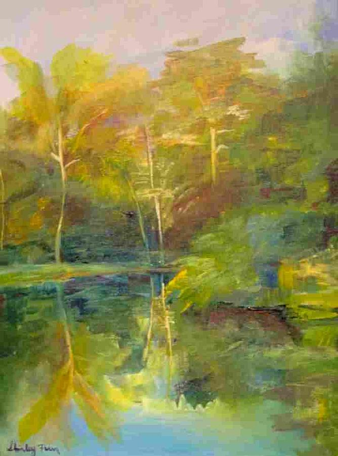 Landscape Painting - Gazebo View East by Shirley Fearn