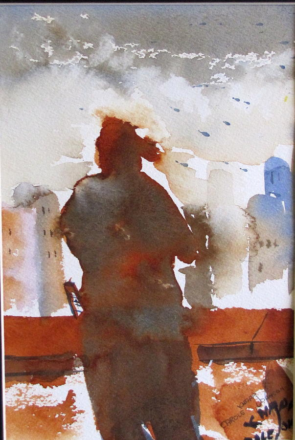 Figurative Painting - Gazing Off The Pier by Carole Johnson
