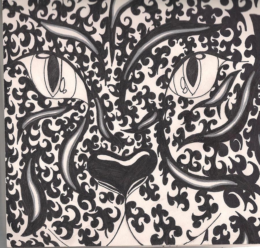 Tiger Drawing - Gazing Through by Kristina  Youn