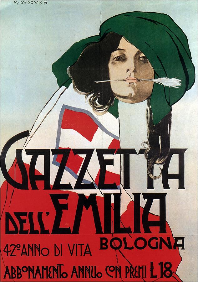 Gazzetta Dellemilia - Magazine Cover - Vintage Advertising Poster Mixed Media