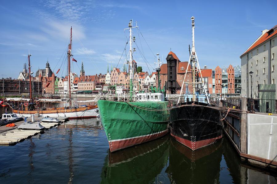 Gdansk Photograph - Gdansk Old Town Skyline From The Harbour by Artur Bogacki