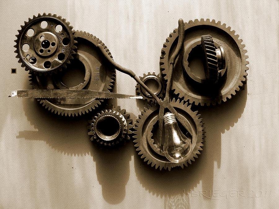 Gears Iv Pyrography by Jan Brieger-Scranton