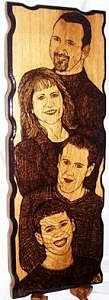 Portrait Drawing - Gebhardts Family Portrait Woodburned From A Photo Original by Marla Gebhardt