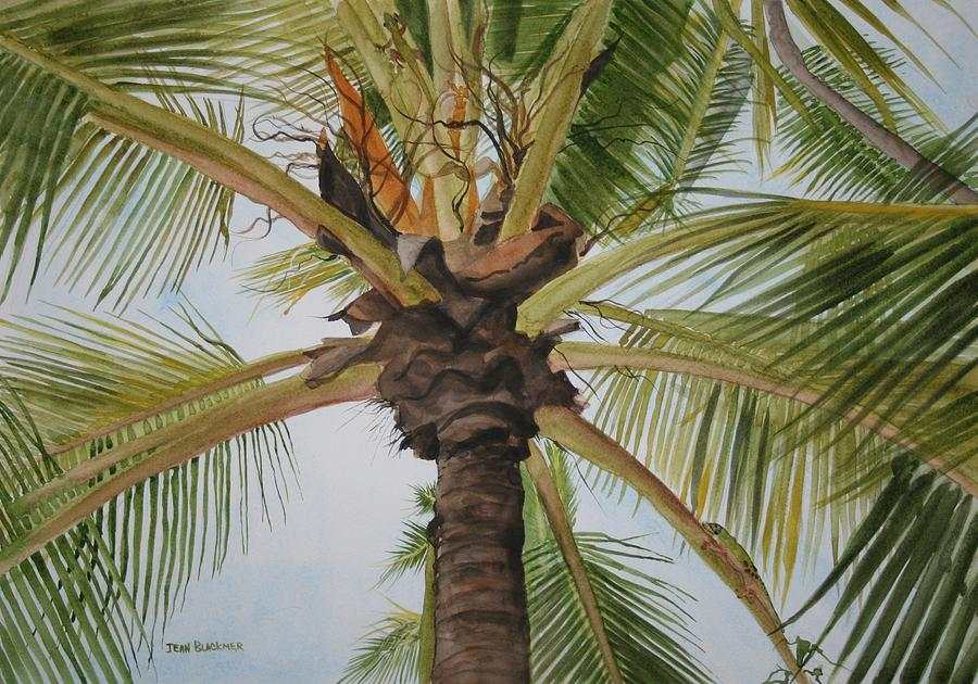 Palm Tree Painting - Gecko Heaven by Jean Blackmer