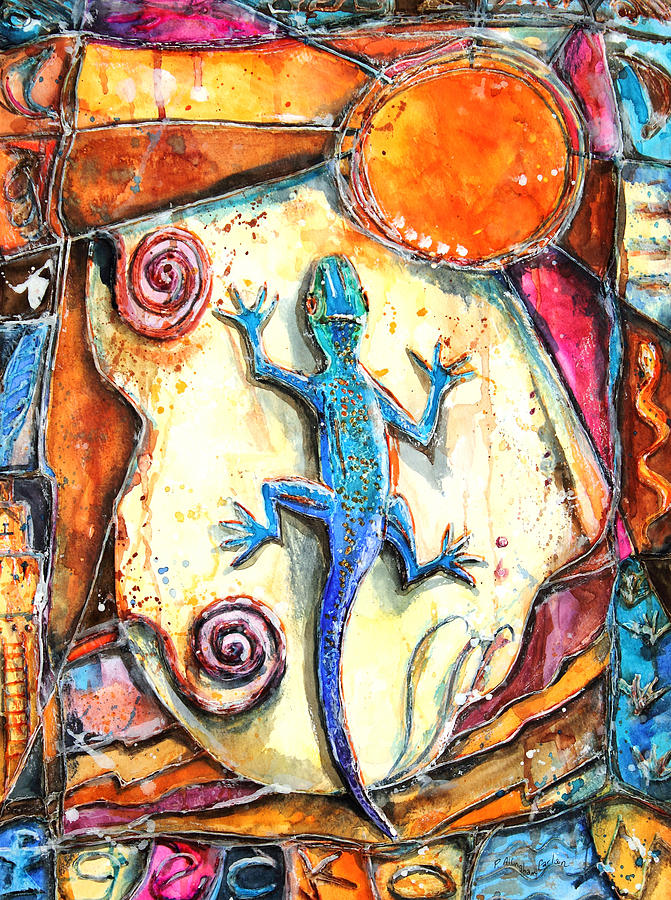 Lizard Painting - Gecko by Patricia Allingham Carlson
