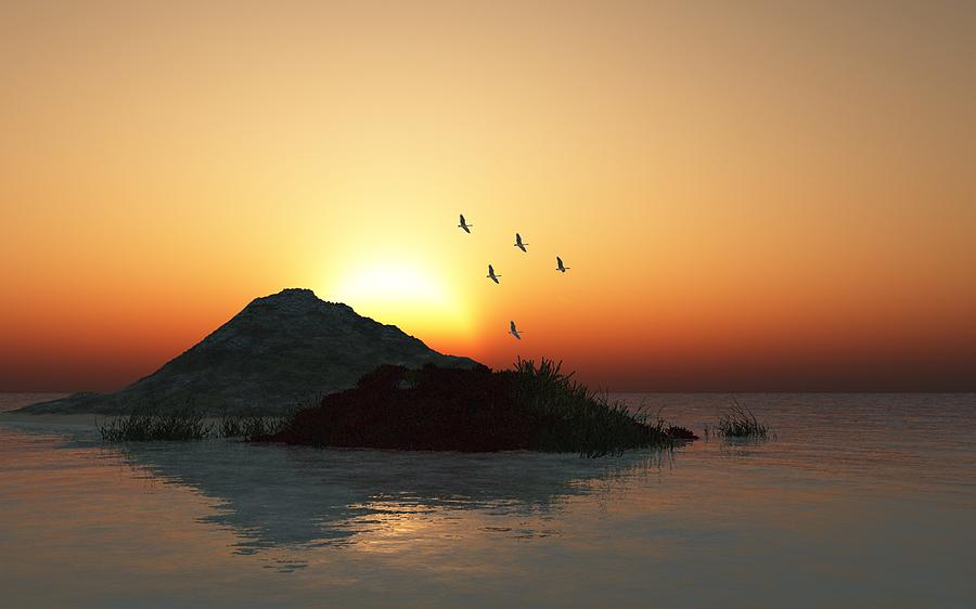 Digital Painting Digital Art - Geese And Sunset by David Lane