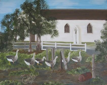Geese Going To Church Painting by Carine Badenhorst-Fourie