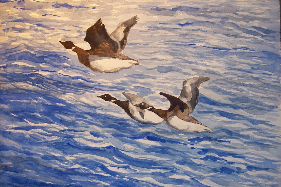 Geese Painting - Geese In Flight by Siona Koubek