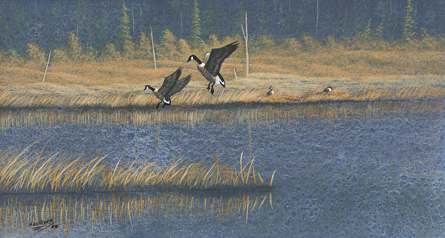 Landscape Painting - Geese by Richard Faulkner