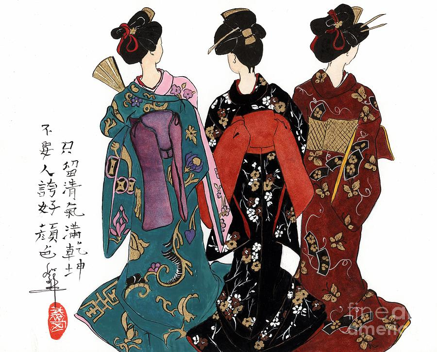Female Figure Painting - Geisha - Back View by Linda Smith