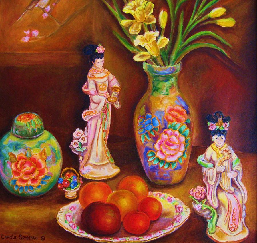 Geishas Painting - Geisha Dolls by Carole Spandau