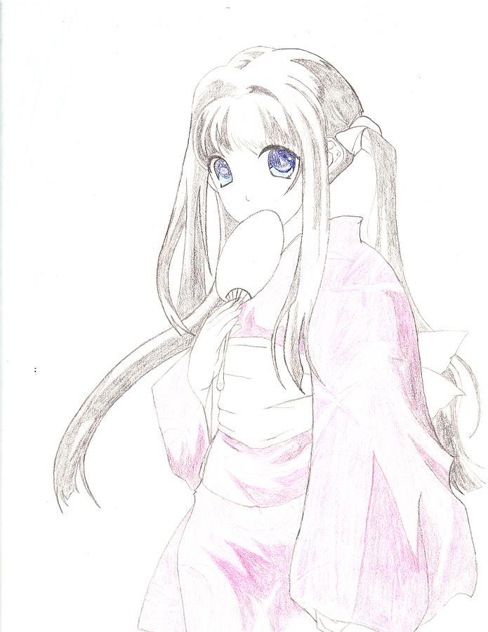 Anime Drawing - Geisha Girl by Carlos Hyman