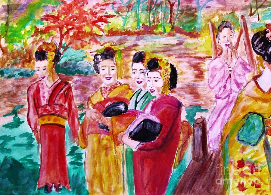 Geisha Painting - Geisha Girl Friends by Stanley Morganstein
