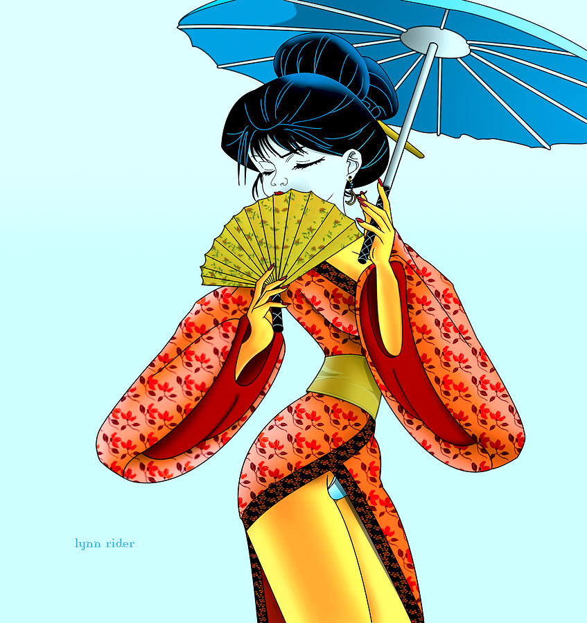 Girl Painting - Geisha Girl by Lynn Rider