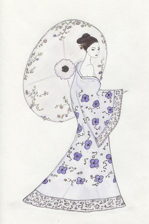 Geisha Drawing - Geisha In Bloom by Christine Corretti
