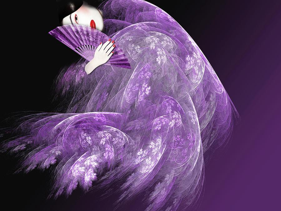 Geisha Digital Art - Geisha In Purple by Michael Duhaime