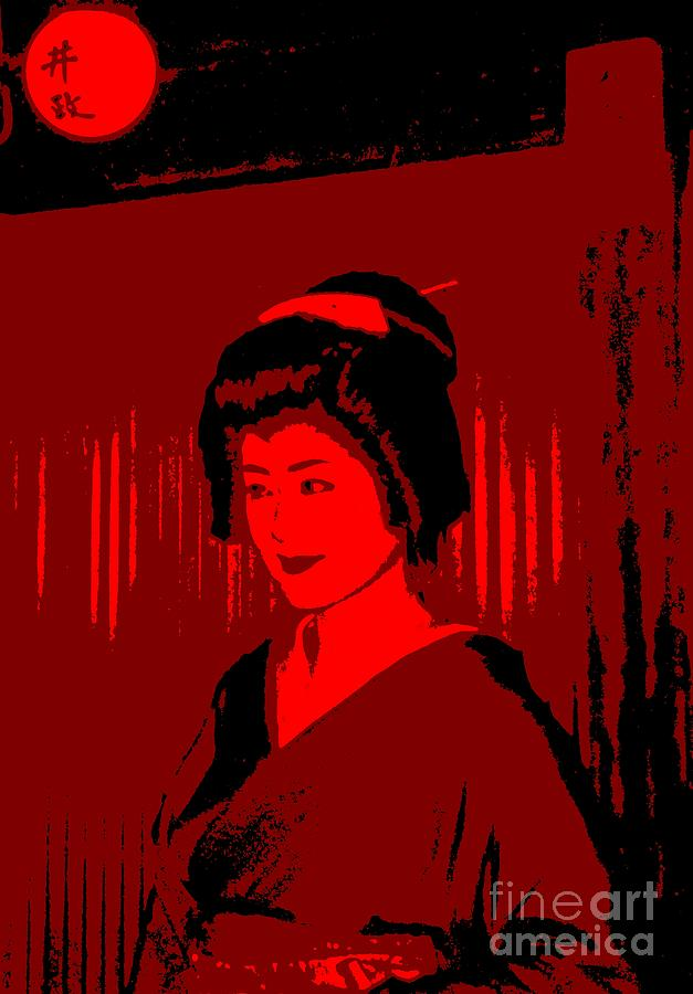 Geisha Photograph - Geisha In Red by Louise Fahy