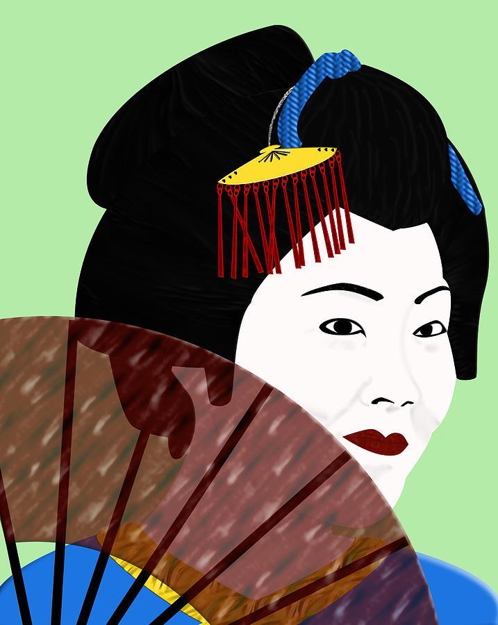 Fan Digital Art - Geisha by Melissa Stinson-Borg