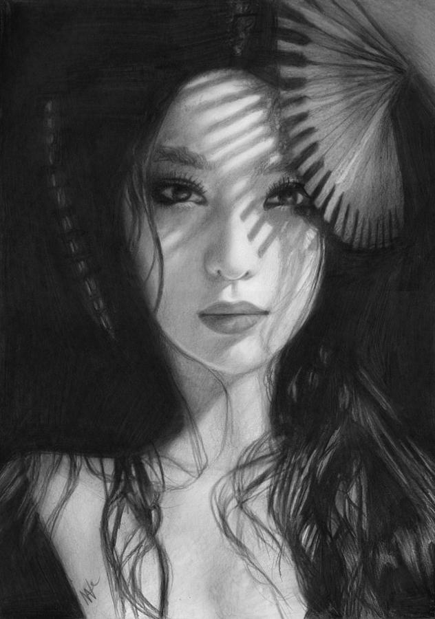 Geisha Drawing - Geisha by Nat Morley