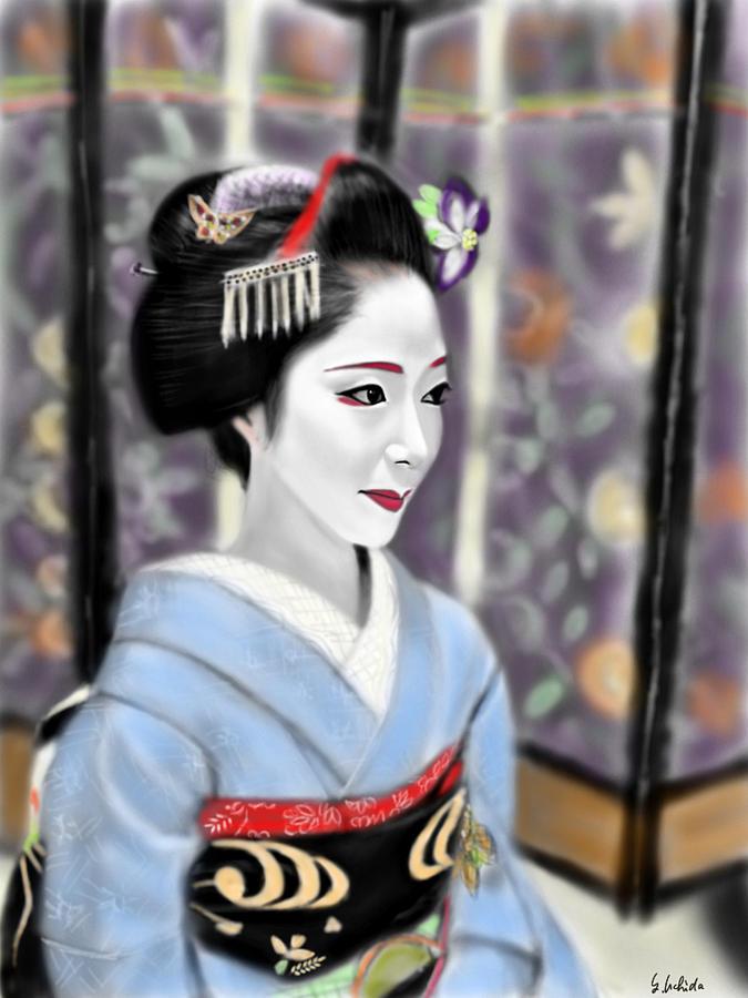 Ipad Painting - Geisha No.119 by Yoshiyuki Uchida